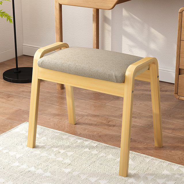Dresser Stool Modern Concise Makeup Stool Bedroom Solid Wood Chair Bedroom Dressing Chair Northern Europe Household The Bench 2