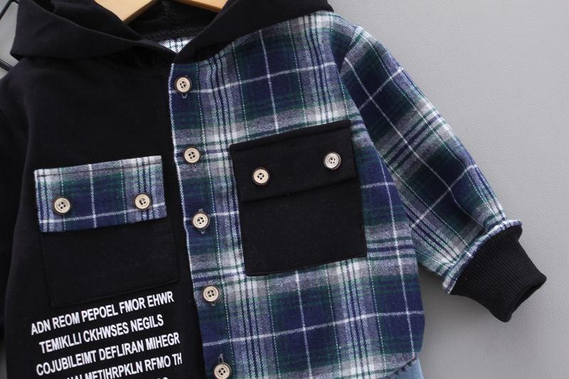 miúdos meninos meninas xadrez retalhos hoodies jaqueta