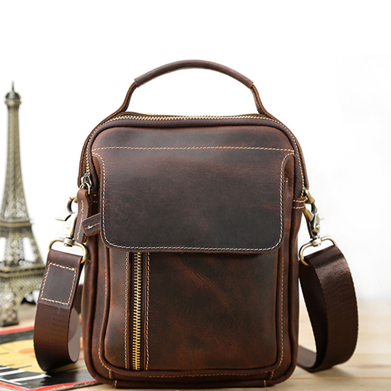 MAHEU New Fashion Small Shoulder Bags Genuine Leather Crossbody Bag For Men Crazy Horse Leather Waist Bags Top Layer Cowhide Bag| | - AliExpress