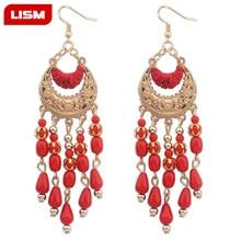 Bohemian Handmade Beaded Long Tassel Earrings For Women Fashion Jewelry Multicolor Beads Statement Earrings Ethnic Drop bohemian beaded tassel drop earrings