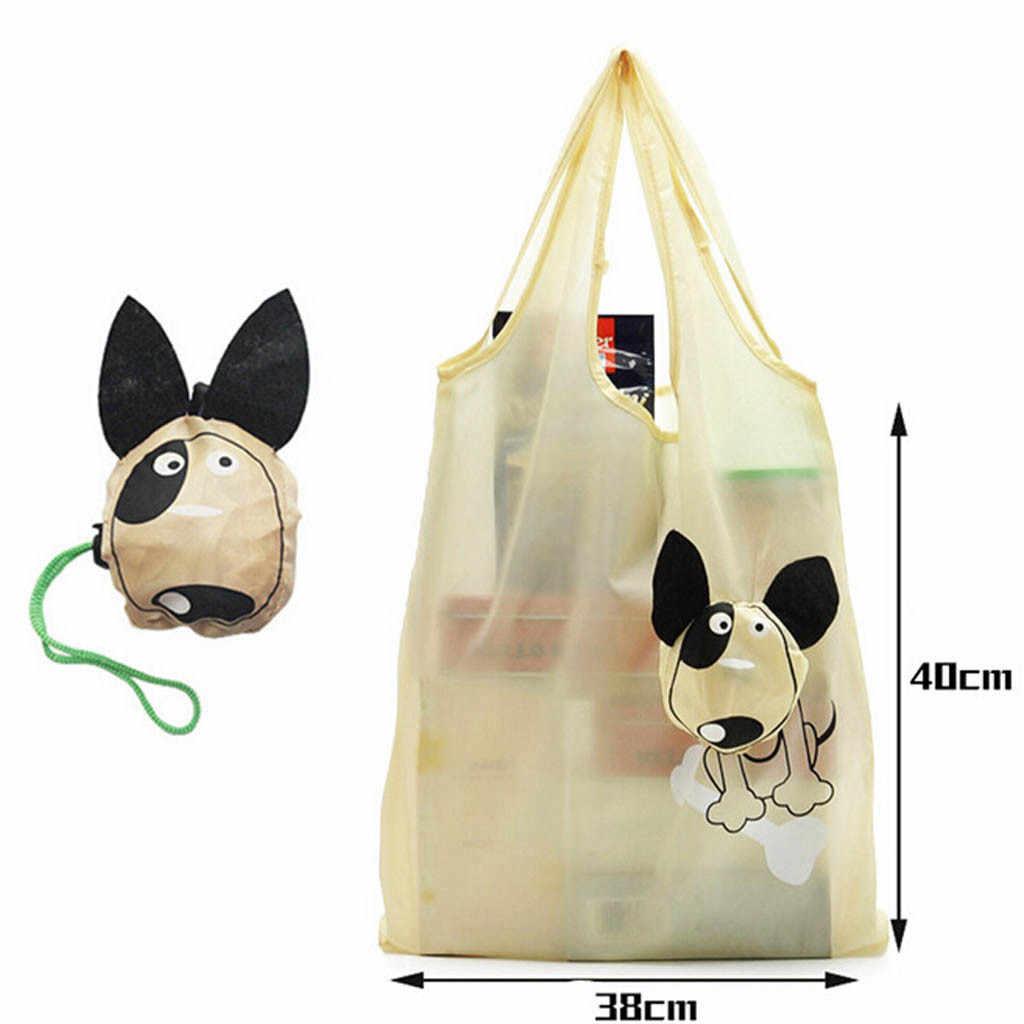 Eenvoudige Unisex Cartoon Leuke Hond Boodschappentas Reistas Grote Waterdichte Boodschappentas Handige Opvouwbare Tas Torba Na Zakupy