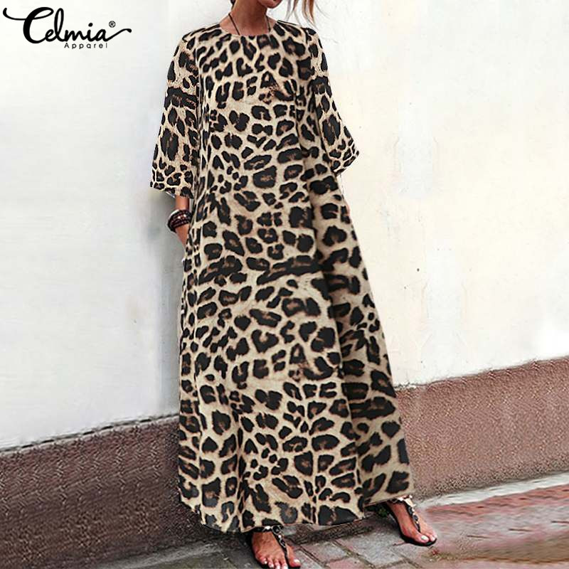 Women Summer Long  Maxi Dress Vintage Leopard Print Dress 2019 Celmia Female Casual O Neck 3/4 Sleeve Loose Party Vestidos S-5XL