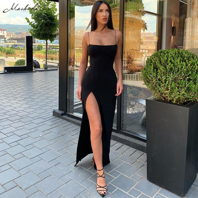 Kendall Jenner Outfits Women Spaghetti Strap Dress Autumn Sexy Split Solid Slim Lady Ankle Length Vintage Wear Dress 2