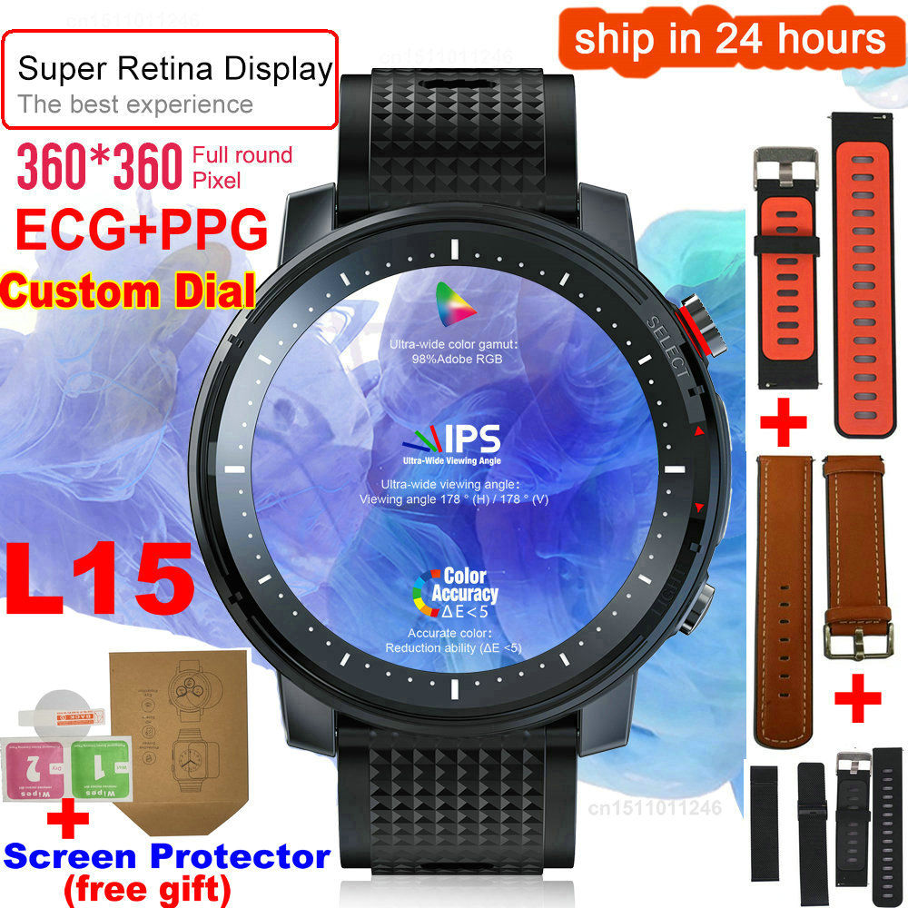 L15 relógio inteligente masculino 1.3 polegada completa-ajuste retina redonda display controle de música câmera lanterna pk l5 l9 smartwatch ip68 à prova dip68 água