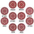 10 шт., круглые наждачные бумаги, 5 дюймов, 125 мм, 8 отверстий, Зернистость 40-2000