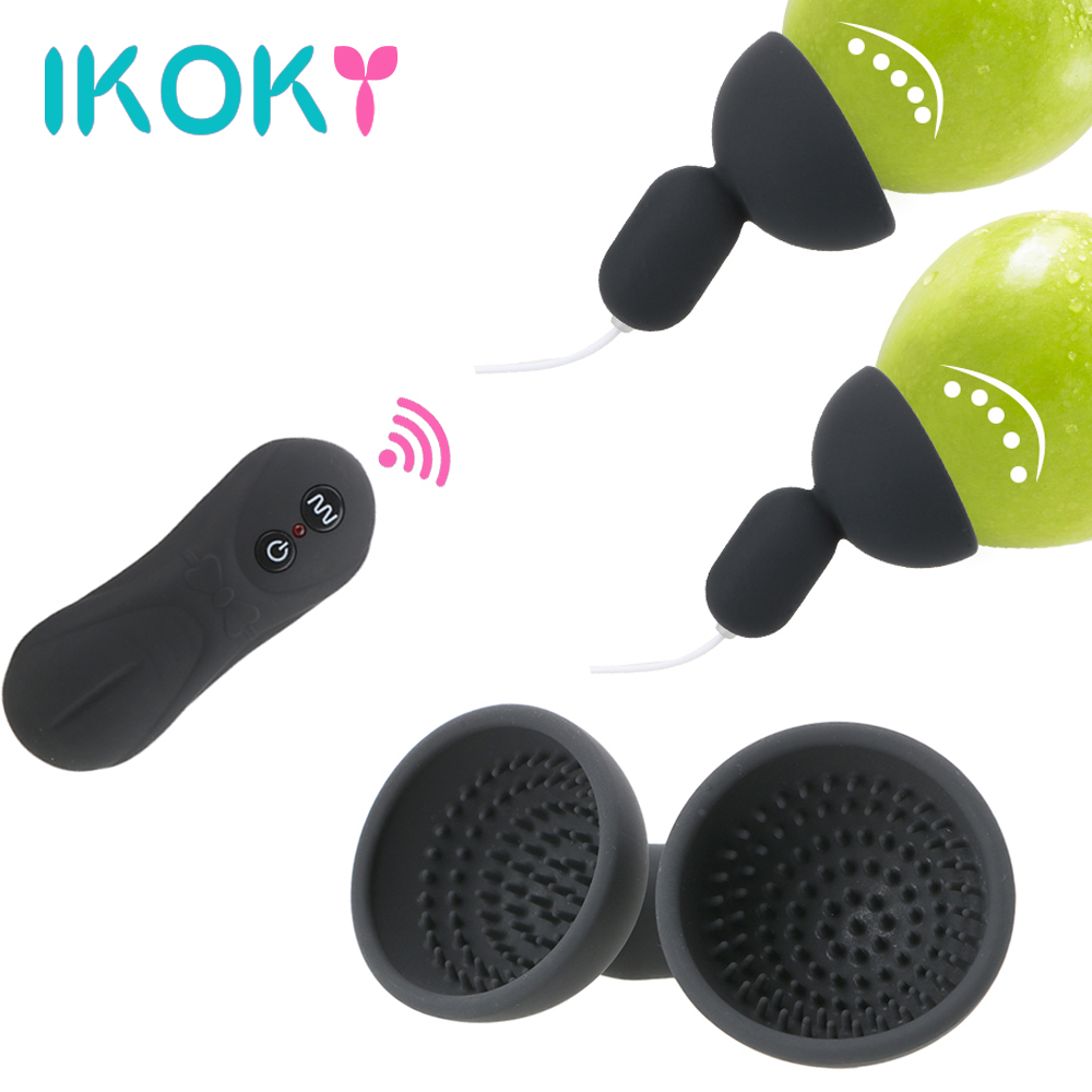 IKOKY 16 Speed Nipple Sucker Vibrator Suction Cup Chest Masturbator Breast Pump Nipple Massager Enlargement Sex Toy For Woman