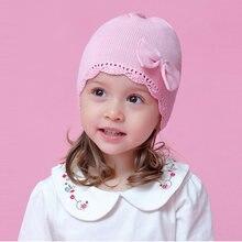 Шапка для маленьких девочек Зимняя Вязаная бини с розовым бантом