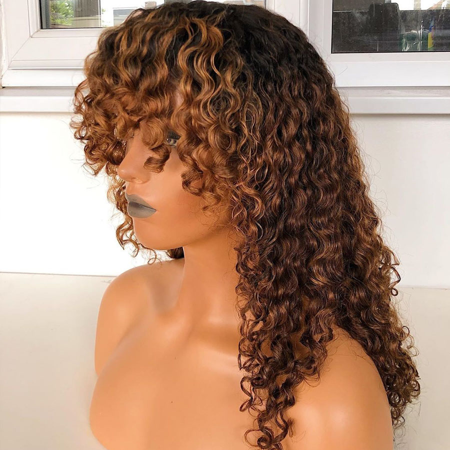 Brazilian Ombre Blonde 13x6 Lace Front Human Hair Wigs With Bangs Bleached Knots Deep Part Lace Wigs Remy Pre Plucked