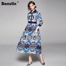 Fashion Runway Autumn Dress Women Long Sleeve Turn-Down Collar Floral Print Ladies Elegant Vintage Ankle-Length Long Maxi Dress цена и фото
