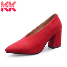 KemeKiss Plus Size 30-48 Women Fashion Office Ladies Pumps Pointed Toe Spring Work High Hee