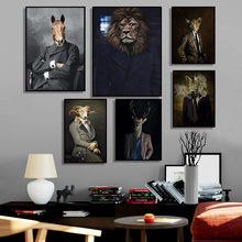 Nordic Rabbit Cat Animal Vintage Big Canvas Painting Art Zebra Lion Elephant Posters And Prints Wall Picture For Living Room lion zebra elephant cow nordic animal posters and prints wall art canvas painting decorative pictures for living room home decor