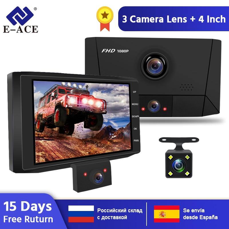 E-ACE B13 DVR 4.0 Inch Auto Recorder 1080P FHD Dashcam Night Vision car dvrs 3 Camera lens Car Camera DashCam Video Recorder