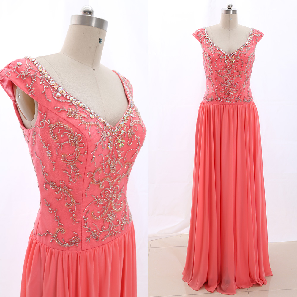 MACloth Coral A-Line V Neck Floor-Length Long Crystal Tulle   Prom     Dresses     Dress   M 266514 Clearance