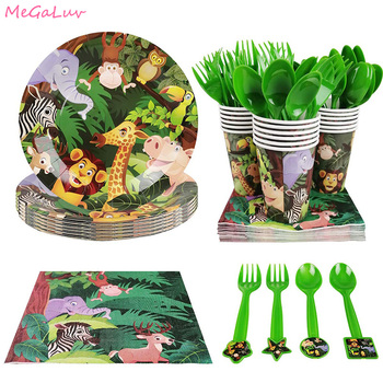 Jungle Party Forest Zoo Theme Decoration Disposable Tableware Animal Pattern Paper Plates Cups Kids Baby Shower Party Supplies lego blocks theme disposable tableware set paper plates cups baby shower birthday party supplies decoration for kids