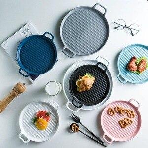 Керамическая посуда, столовый сервиз, тарелка 8/10 дюйма фарфоровая Милая десертная тарелка посуда для выпечки керамическая тарелка для выпе...
