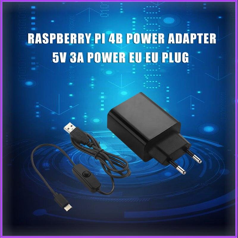 Raspberry Pi 4 B Power Adapter 5V 3A Power Supply EU US Plug 1M Switch USB Cable Power Cord For Raspberry Pi 4 RPI170