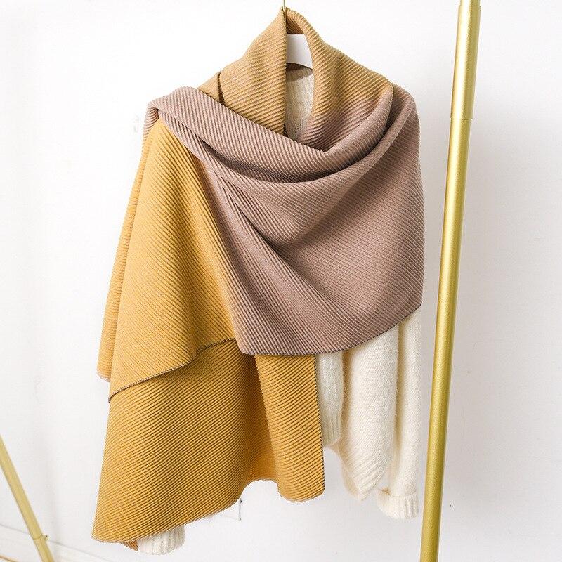 Image 2 - ファッション冬のカシミヤスカーフ女性のためのクリンクルヒジャーブ暖かいパシュミナスカーフ無地ネッカチーフショールとラップ女性のスカーフレディース スカーフ   -