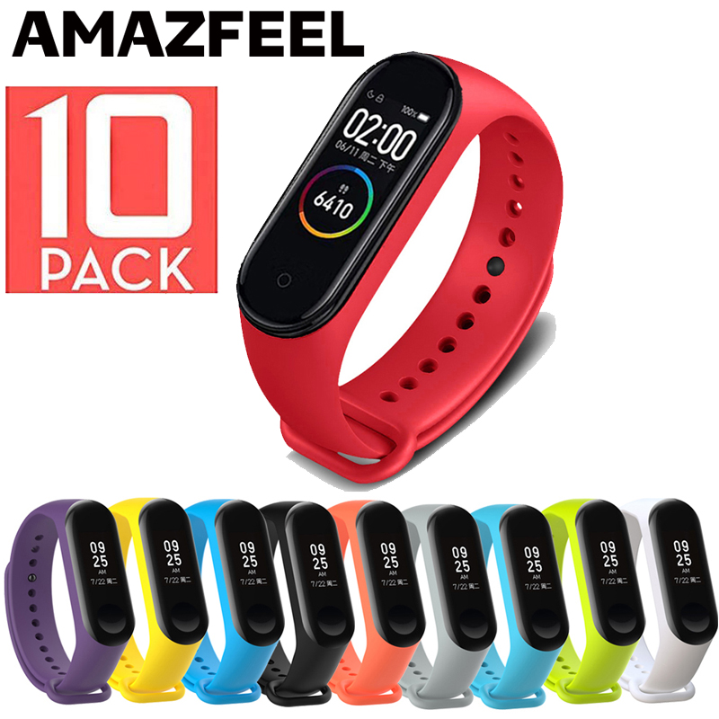 10Pcs Pack Bracelets For Mi band 5 Strap For Xiaomi Mi Band 5 4 Strap Silicone Miband 5 3 Bracelet Wrist Strap Band Accessories
