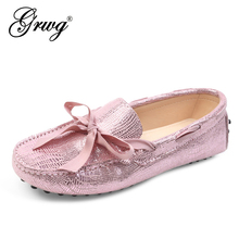 Women Shoes Flat-Loafers 100%Genuine-Leather Spring Summer New-Fashion Brand Casual High-Quality
