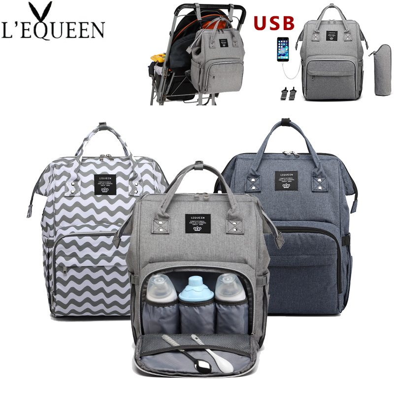 Lequeen Baby Bag With USB Interface Mummy Maternity Bag Large Capacity Diaper Travel Backpack Waterproof Nursing Nappy Bag