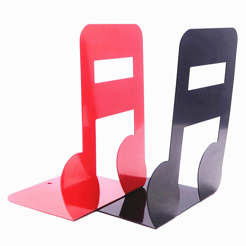 1 Pair Creative Metal Bookends Treble Spectrum / Sixteenth Note Shape Support Holder Desk Stands For Books Decorative Bookends