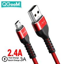 QGeeM mikro USB kablosu 2.4A naylon hızlı şarj USB veri kablosu Samsung Xiaomi LG için Tablet Android cep telefonu USB şarj kablosu