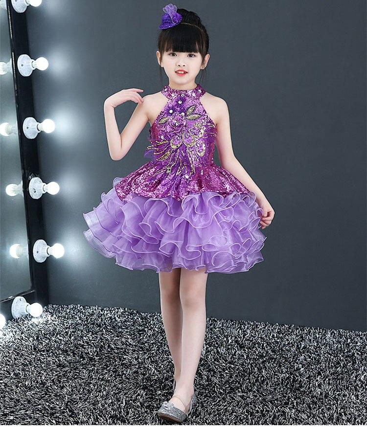 Короткие пышные красивые платья с оборками для маленьких девочек недорогой танцевальный костюм лавандового, красного, желтого цвета платье с блестками для маленьких девочек - Цвет: Лаванда