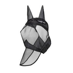 Fly маска полная маска лошади тонкая сетка УФ Защита с ушами Equine длинный нос дышащий черный L