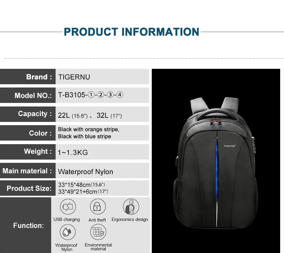Waterproof 15.6inch Laptop Travel Backpack 13