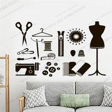 Art mur décalcomanie murale Atelier pour femmes vinyle autocollant tailleur couturière flocons couture Salon robe forme Mannequin décor JC157