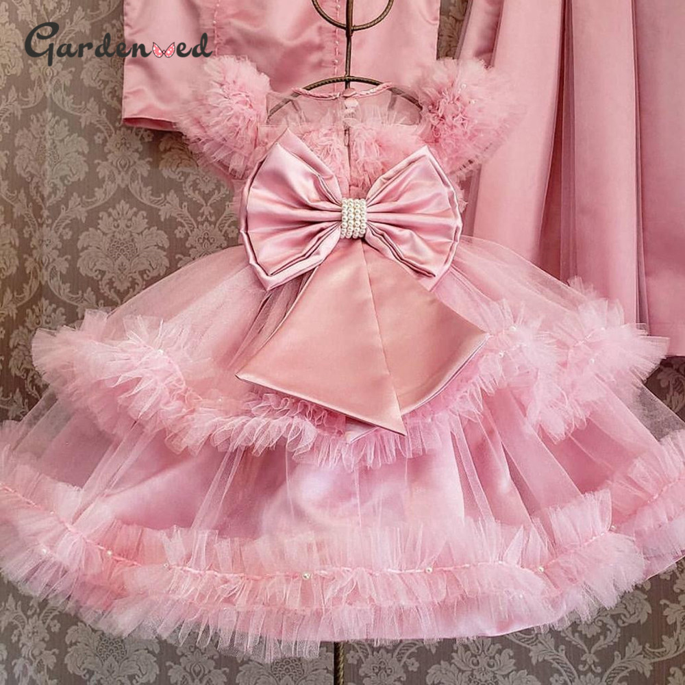 Gardenwed Puffy Girl Princess Dress Pink Ball Gown Flower Girl Dresses 2020 Bow Pearls Girl Wedding Party Dress Birthday Dress