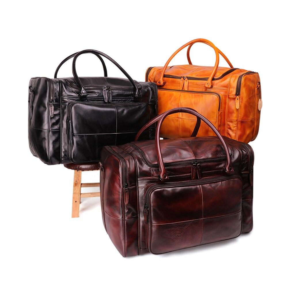 JOYIR sac polochon homme en cuir véritable sac de voyage bagage sac à main homme sac de voyage grande capacité sac à bandoulière en cuir fourre tout homme - 3