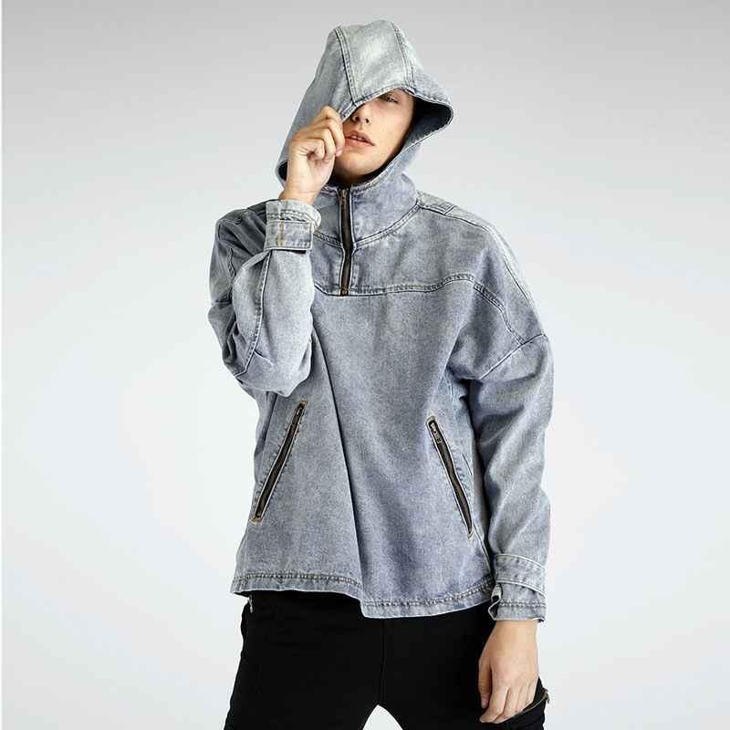 리틀 빗방울 남성 풀오버 후드 데님 재킷 Sping 남성 패션 캐주얼 청바지 후드 코트 루즈 데님 재킷 후드