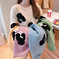 Women's Knitted Sweater 2019 Autumn Winter Sweet Lantern Sleeve Embroidery Cartoon Thickening Pullovers Students Ladies Sweaters