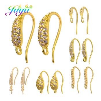 Juya DIY Simple Ear Hole Clasp Supplies Gold/Silver Color Dangle Earring Hooks Accessories For Pearls Crystals Earrings Making 12pcs diy accessories color protection plating ear hook plating simple thread earrings spring ear hooks for women