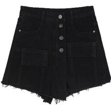 Street Style nieregularna spódnica spodenki damskie jeansy czarne koreańskie Steetwear krótkie Feminino letnie luźne guziki jeansowe spodenki spódnica cheap NUFASLOS Poliester WOMEN Osób w wieku 18-35 lat Na co dzień Women Short BO2816 Szorty Przycisk Przycisk fly Wysoka Polyester