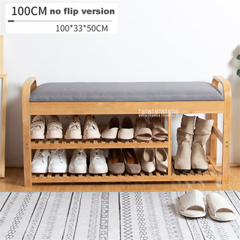 ND190508 100cm Double Deck Fabric Shoes Trying Stool Wood Shoe Storage Cabinet Living Room Doorway Creative Wood Shoe Rack