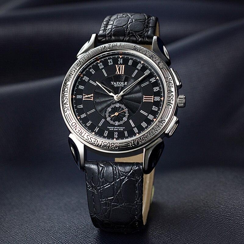 YAZOLE Fashion Leisure Business Men Quartz Watch Independent Seconds Dial Waterproof Premium Leather Strap Relogio Masculino 419