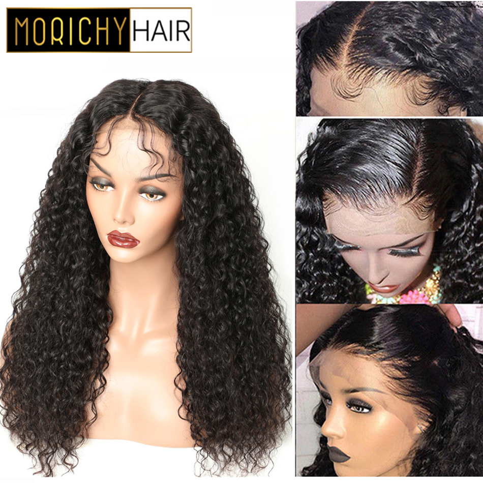 Morichy Kinky Curly 13X4 Front Lace Wigs Peruvian Non-Remy Real Human Hair 150% Density Natural Black DIY Hairstyles For Female