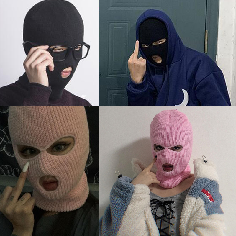 Women Men 3-Hole Knitted Full Face Cover Ski Winter Warm Cycling Neon Solid Color Balaclava Mask Hat Halloween Party Cosplay Cap
