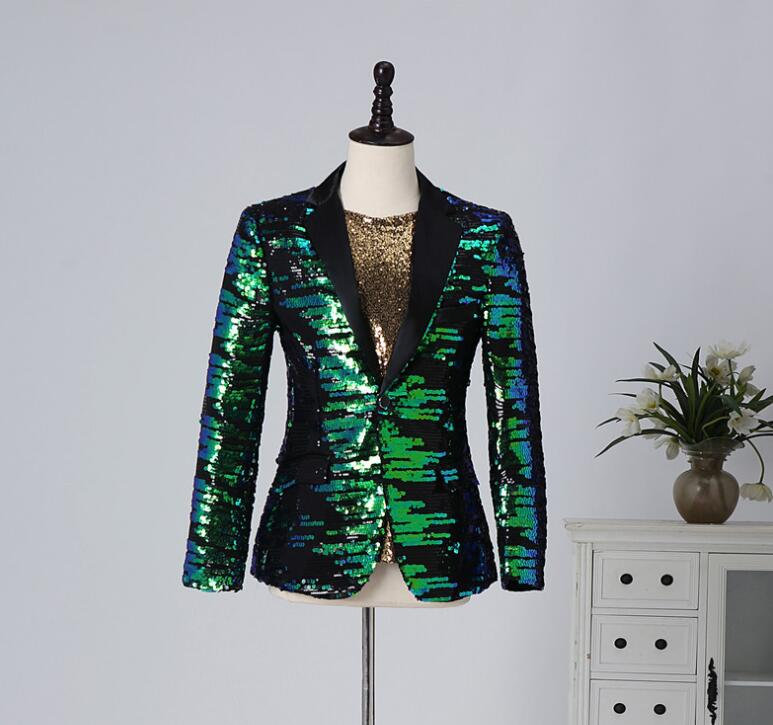 Personality blazer <font><b>men</b></font> <font><b>Sequins</b></font> suit <font><b>jackets</b></font> <font><b>mens</b></font> wedding suits costume singer star style stage <font><b>green</b></font> clothing formal dress B235 image