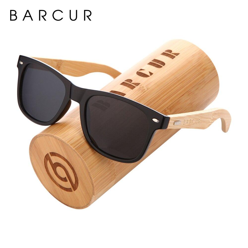Мужские и женские солнцезащитные очки BARCUR, поляризационные солнцезащитные очки из натурального бамбука