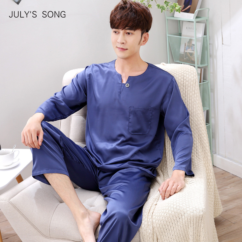 JULY'S SONG Satin Faux Silk Male Nightwear Solid Long Sleeve Pocket Soft Men's Sleepwear Pajamas Sets Casual Homewear Pyjamas