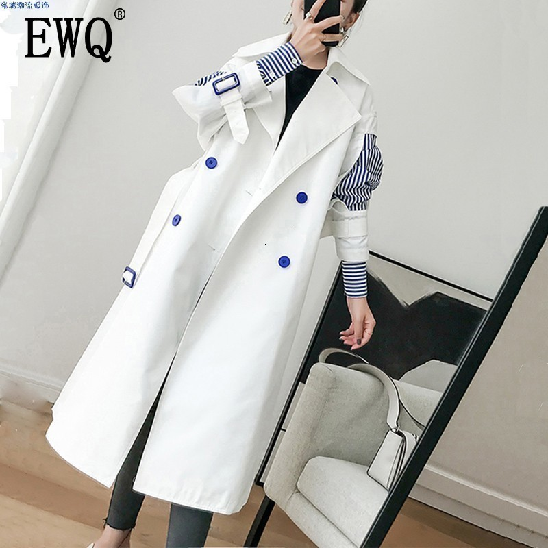 EWQ 2020 New Autumn Fashion Women Clothing Turn-down Collar Full Sleeves Striped Patchwork Double Breasted Windbreaker WC00200L
