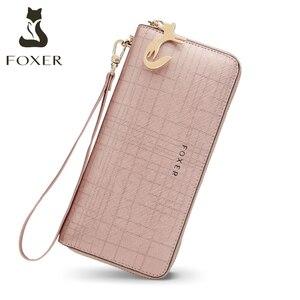 Image 1 - Foxer女性のスプリット革ロング財布女性のクラッチバッグファッションカードホルダー高級携帯電話の財布ジッパー財布