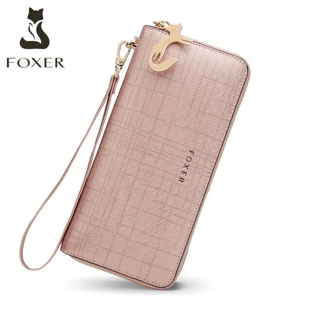 Foxer女性のスプリット革ロング財布女性のクラッチバッグファッションカードホルダー高級携帯電話の財布ジッパー財布