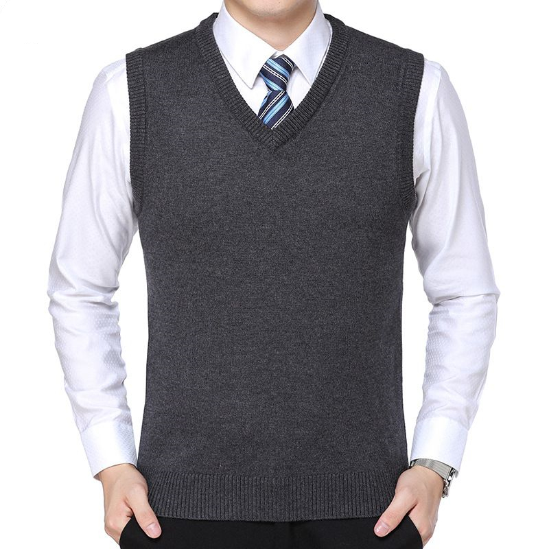 New 2019 Knitted Pullover Male V-Neck Sleeveless Formal Business Homme Casual Knitwear Solid  Men Thin Sweaters Vest Gilet