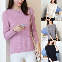Women Fashion Knitted Sweaters Casual O Neck 2019 Autumn High Street Thin Knit Tops Female Pullover Side Slit Sweater Pull Femme недорого
