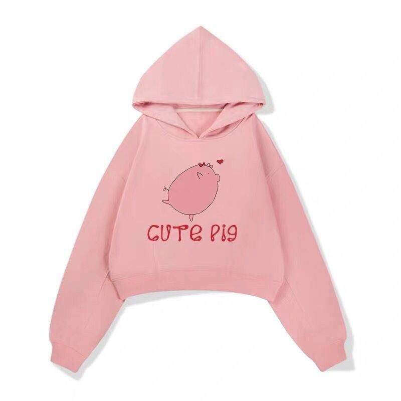 oversize hoodies Women sweatshirt sweat femme kawai pink pig Printed Long Sleeve Jumper Pullover chic Casual tops sudadera mujer