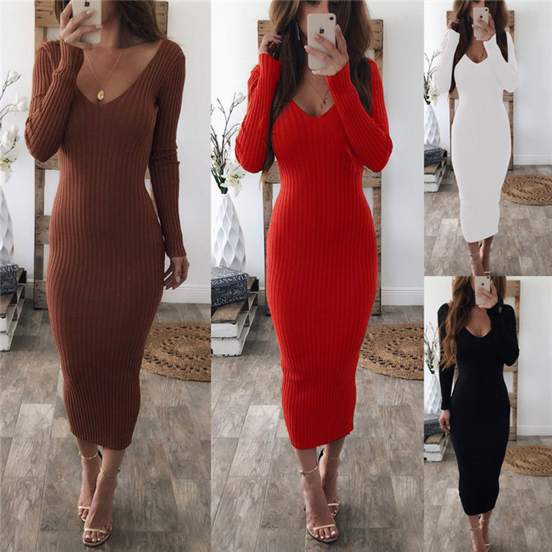 Women Package Hip Knitted Winter Dress Sexy Low Chest Deep V Neck Elegant Slim Bodycon Dress Autumn Pencil Long Vestidos Female